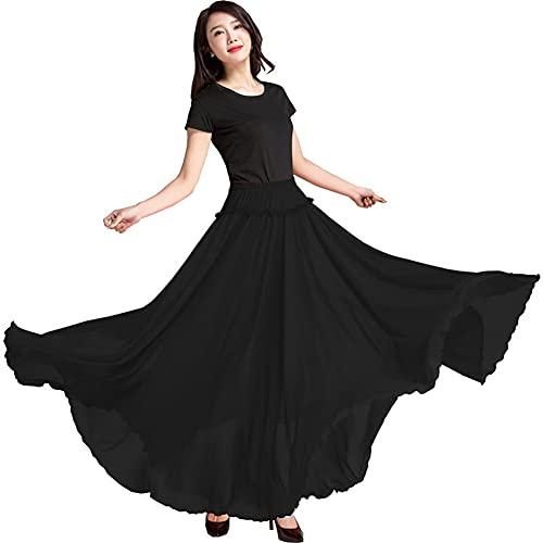 MYWA Faldas para Danza del Vientre para Mujeres Faldas de Gasa Trajes de Baile hasta el Suelo para Competición Contemporánea Faldas de Vuelo Grandes Dobladillo Grande de 26 Pies (Size:90,Color:Negro)