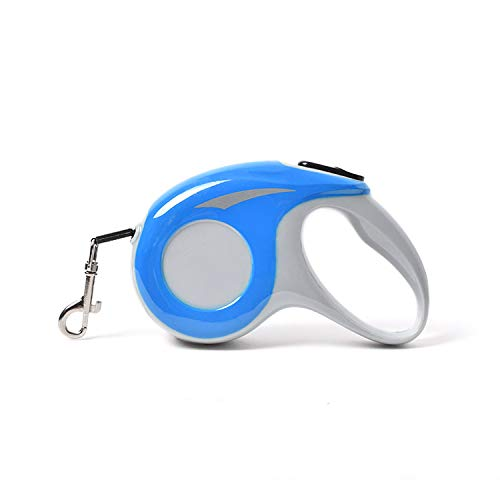 Rollce Blue Retractable Dog Leash with Tangle-Free Strong Nylon Tape Ergonomic Handle One Button Lock System One-Handed Brake, Pause, Lock 360° rotatable Metal Buckle (5M/16FT, Blue)