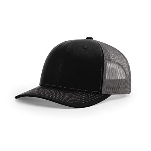 Richardson Unisex 112 Trucker Adjustable Snapback Baseball Cap, Split Black/Charcoal, One Size Fits Most
