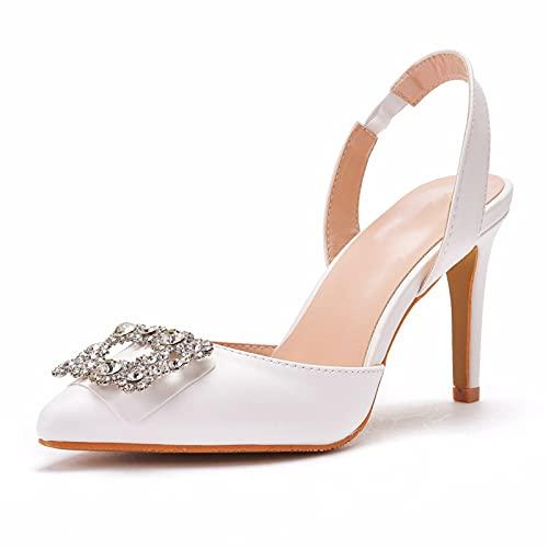Zapatos De Novia Para Mujer,Tacones Altos Puntiagudos, PU Artificial Lazo Trasero Diamantes...