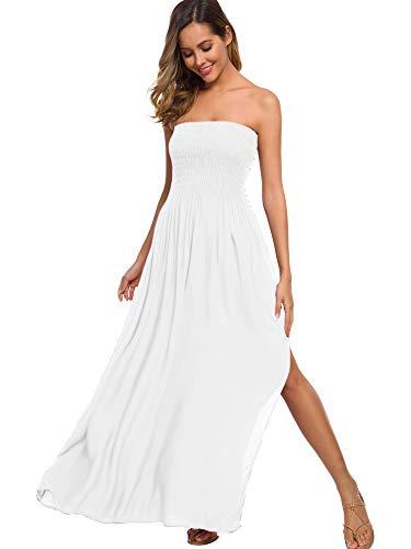 just quella Maxi Dresses for Women Summer Strapless Boho Beach Long Dress (S, White)