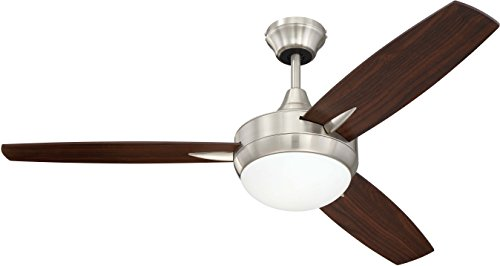 3 Blade Ceiling Fan with Dimmable LED Light and Wall Control  Targas 48 Inch Bedroom Fan, Brushed Nickel - Craftmade TG48BNK3