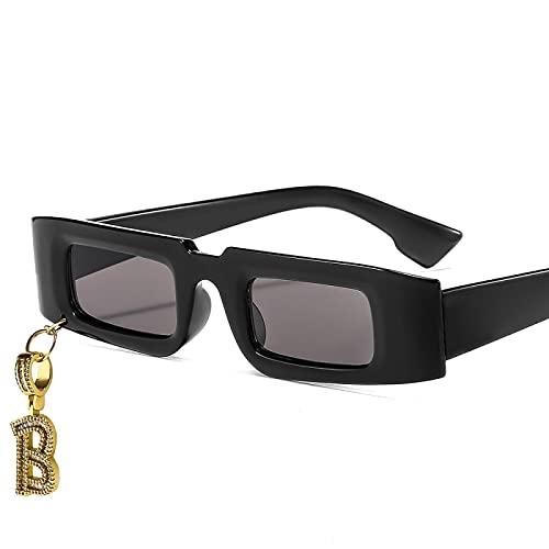Gafas De Sol 2021 Moda Mujer Pequeña Gafas De Sol Vintage Bling Colgante B Hip Hop Gafas De Sol Hombres Mujeres Gafas De Sol De Lujo Blackgray