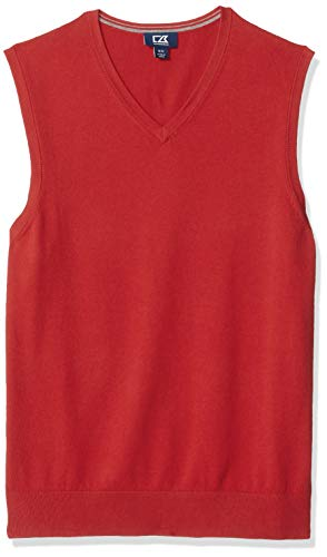 Cutter & Buck Men's Cotton-Rich Lakemont Anti-Pilling V-Neck Sweater Vest, red, X-Large