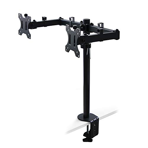Emuca - Soporte de monitor doble 13 a 32 pulgadas para mesa, brazo articulado pantalla escritorio hasta 8 kg, ajustable en altura, inclinable y giratorio 360º, MAX VESA 75x75mm-100x100 mm, acero negro