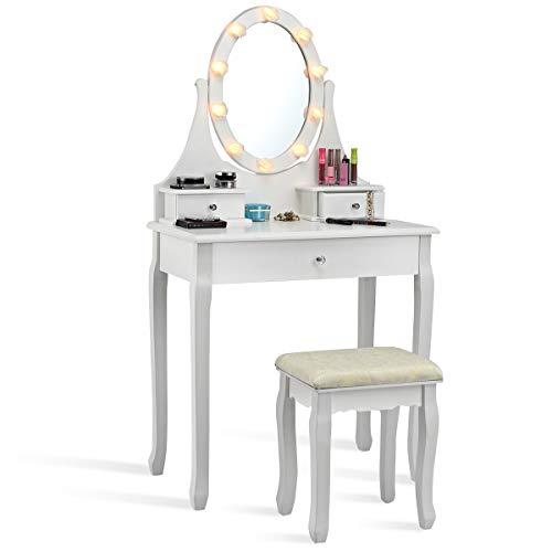 COSTWAY Schminktisch mit Hocker, Frisiertisch mit drehbarem Spiegel und LED Beleuchtung, Frisierkommode mit 3 Schubladen, Kosmetiktisch aus Tisch und Abnehmbarer Oberteil, 75 x 40 x 139cm (Weiß)