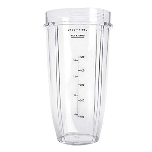 24 oz Transparent Plastic Replacement Cup Part Accessories Compatible with Nutri Ninja 900W 1000W Blender Juicer