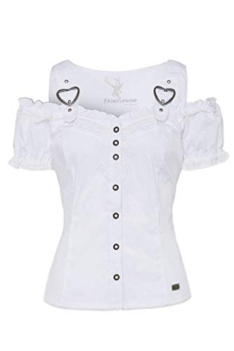 Spieth & Wensky Moser Trachten Trachtenbluse Kurzarm weiß Galanta 004579, Material Baumwolle, Herzausschnitt, Größe 32