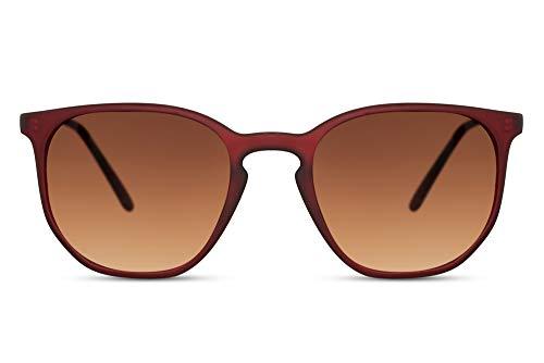 Cheapass Gafas de sol Modernas Rojo Oscuro Rojoondas Montura de Goma con Lentes Graduales Marrones Vintage con protección UV400 Hombres Mujeres
