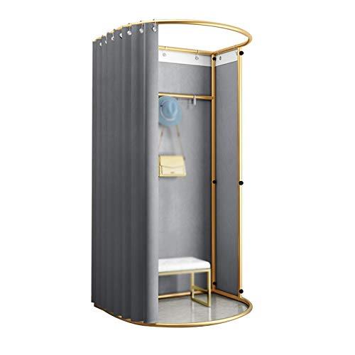 JIANFEI Umkleidekabine Freistehend, U-Typ Bewegung Spur Privatsphäre Bildschirm, Schattierung Vorhang Kit, Metall Rahmen, Abnehmbar, 5 Farben (Color : Gray, Size : 100X90X200CM)