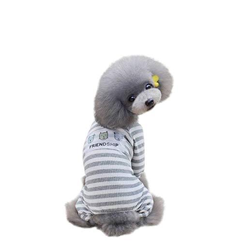 Mike Wodehous Pyjamas Dog Coats Hunde-Kleidung Haustier- Grau Rosa S-XXL-Streifen Hund Overall (Farbe : Grau, Size : XL)