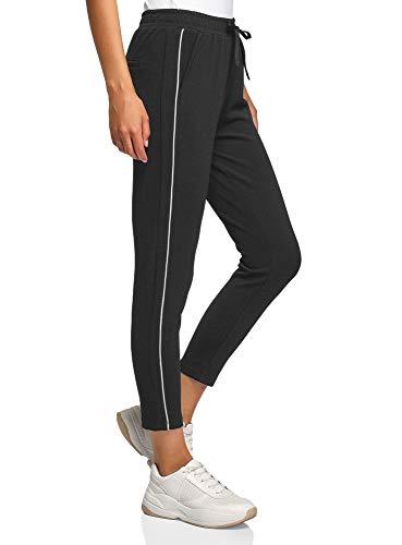 oodji Ultra Damen Hose aus Strukturiertem Stoff mit Seitenstreifen, Schwarz, DE 36 / EU 38 / S