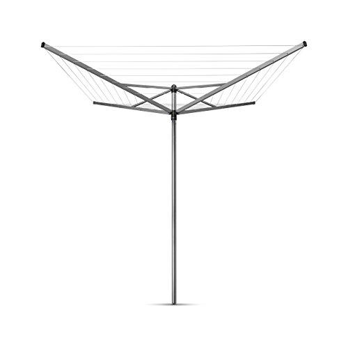 Brabantia Topspinner Tendedero de Jardín con Soporte para Tierra, Acero Inoxidable, Gris Metalizado, 40 m de cuerda