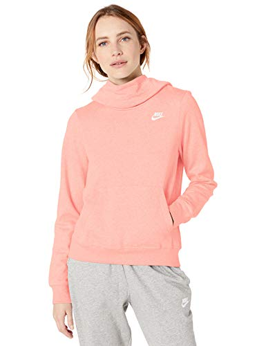Nike Women's NSW Fleece Hoodie Varsity, Bleached Coral/White, Small