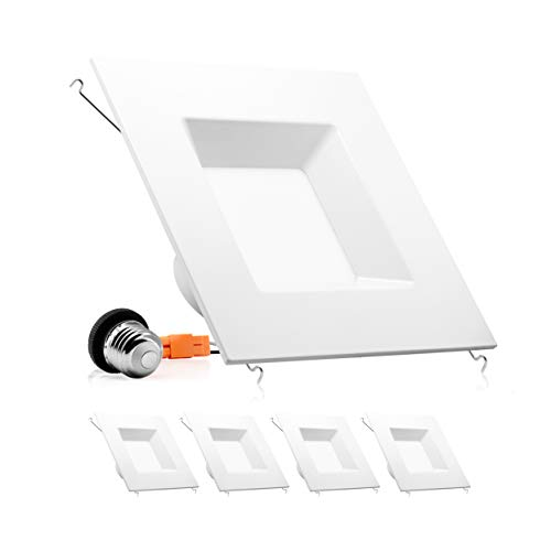 Parmida (4 Pack) 6 inch Dimmable LED Retrofit Recessed Downlight, 15W (100W Replacement), Square Trim, 5000K (Day Light), 1040LM, ENERGY STAR & ETL, LED Ceiling Can Light Fixture