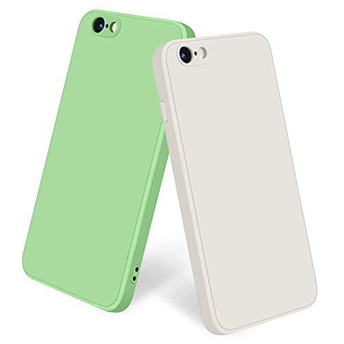 Yisica [2 Pezzi] Cover per iPhone 6 / iPhone 6s Custodia Silicone Liquido Ultra Sottile, TPU Cover Protettiva Completa Antiurto con Fodera in Microfibra Anti-Graffio (Bianco + Verde Matcha)