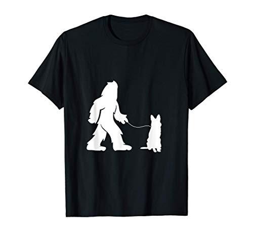 Bigfoot Sasquatch Walking German Shepherd Dog Lovers Gift T-Shirt