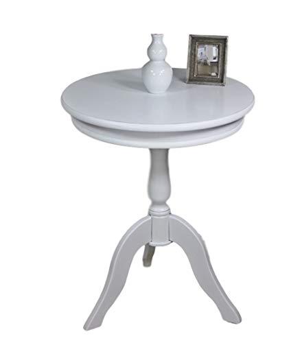 elbmöbel - Tavolino Rotondo in Legno, Stile Vintage Shabby Chic, 65 x 50 cm, Colore: Bianco