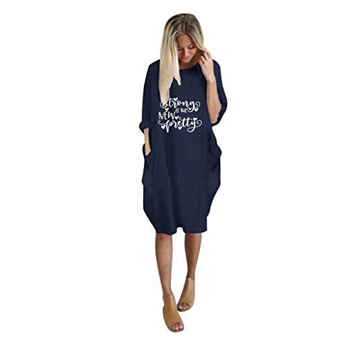 TUDUZ-Damen Pullover Lang Sweatshirt Übergröße Kleider Sweatshirt mit Tasche Tops Kleid Große Größe Freizeitkleid(B-Marine,XX-Large)