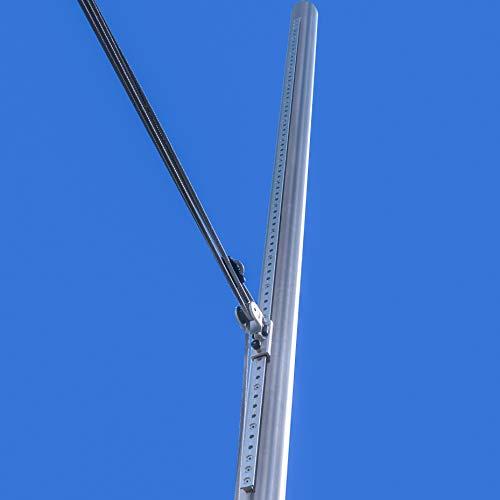 Pina DESIGN seit 1979 - Sonnensegel Pfosten höhenverstellbar 3m, aus V2A Edelstahl inkl. Zubehör - 4-Fach Flaschenzug-Set & 0,75m Bodenhülse zur Befestigung | für sehr große Segel (70/3mm)