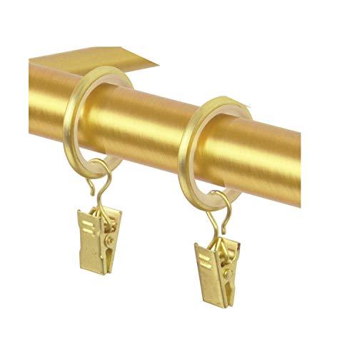 TRENDYHOME Vorhangringe-Set, mit Clip, 10er-Pack, Gold-Matt Messing Kupfer Antik Vintage-Look Retro-Stil Gardinenringe mit Klammern (1 Päckchen 10 Stück Ringe + Klammern Messing Gold)