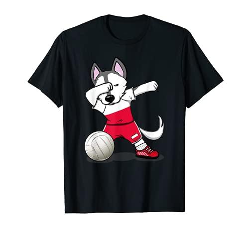 かわいい踊るハスキー犬 ポーランド バレーボールファン - ポーランドの旗 Dog Poland Volleyball Tシャツ