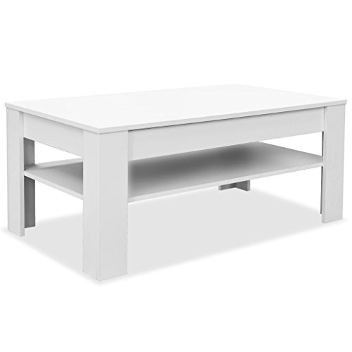 Festnight Wohnzimmertisch Spanplatte Mit Schublade und Ablageboden 110×65×48 cm Weiß