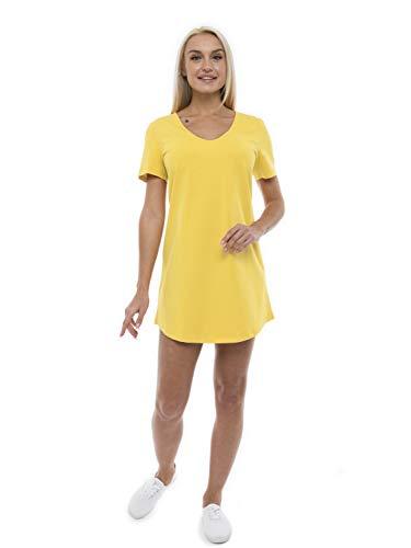 ABAKUHAUS Vestido Casual de Mujer Holgado Escote en V, S, Amarillo