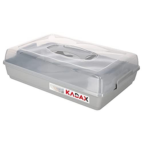 KADAX Kuchenbox mit Deckel, 44 x 30 x 12,5 cm, Kuchenbehälter aus Kunststoff, Transport-Box mit Griff, Kastenform, für Blechkuchen Muffins, rechteckig, Lebensmittelbox (Grau)