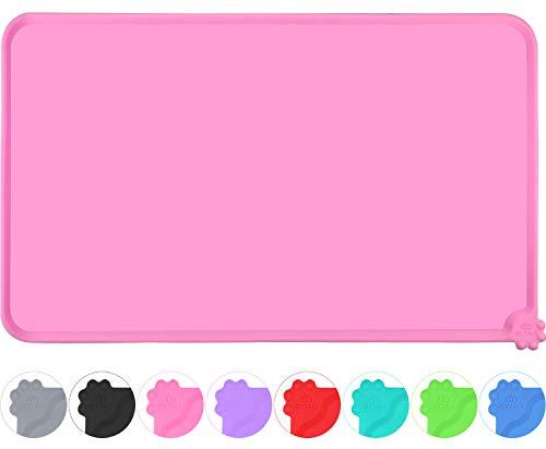Joytale Napfunterlage Silikon, rutschfeste Hundenapf Matte für Hund und Katze, Wasserdicht,47 x 30cm, Rosa