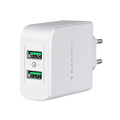 RAMPOW Chargeur Secteur USB 39W 2 Ports, Chargeur USB Prise Quick Charge 3.0 pour iPhone 11/XR/X/XS/X/8, iPad Pro/Air, Samsung S10/S9/S8, Huawei, Xiaomi, Oneplus - Blanc