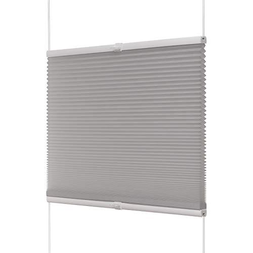 Ventanara Waben Plissee ohne Bohren Grau tageslicht Klemmfix Plisseerollo Thermo Faltrollo verspannt inklusive Premium Klemmträger (75 x 130 cm)