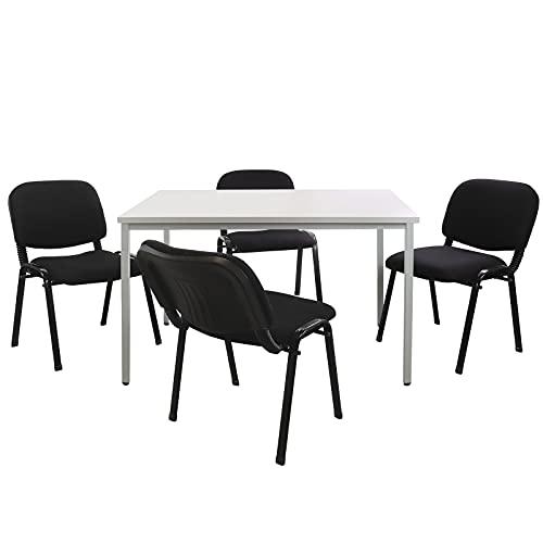 ADB Büro Sitzgruppe Konferenztisch 120x80cm mit Stühlen Besprechungstisch für 4 Personen