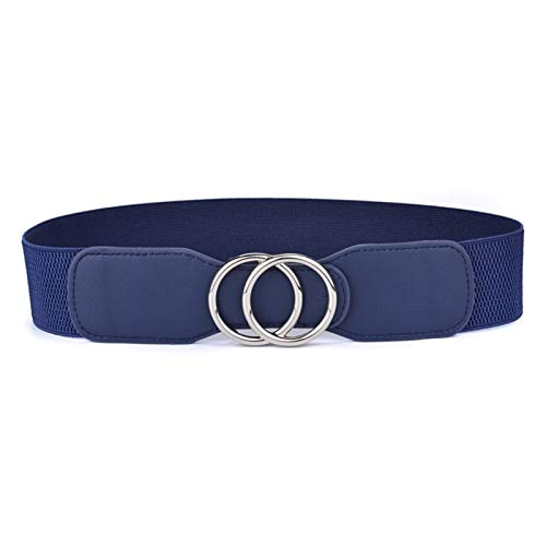 SFQRYP Cinturones de cintura ancha elástica de la faja de las mujeres Cinturones de cintura ancha Doble Anillos Cummerbunds Señoras ( Belt Length : 85cm to 105cm , Color : OO kou Sliver blue )