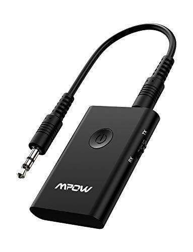 Mpow Transmetteur Bluetooth 4.2 Émetteur et Récepteur Adaptateur Bluetooth 2 en 1 Adaptateur Audio sans Fil Sortie Stéréo de 3,5 mm aptX Double Appairage pour TV, PC, Système Stéréo de Voiture/Maiso