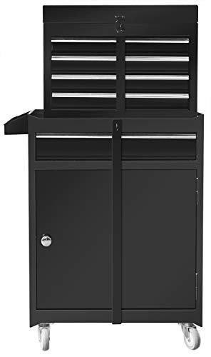 BIG RED ATBT1204R-BLACK Torin Rolling Garage Workshop Tool Organizer: Detachable 4 Drawer Tool Chest with Large Storage Cabinet and Adjustable Shelf, Black