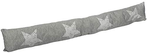 com-four® Cojín para Puertas - Burlete Aislante - Protección contra Corrientes de Aire y Ruido - Cortavientos con Estrellas - 87 x 10 cm (01 Piezas - Estrella Gris Claro V2)