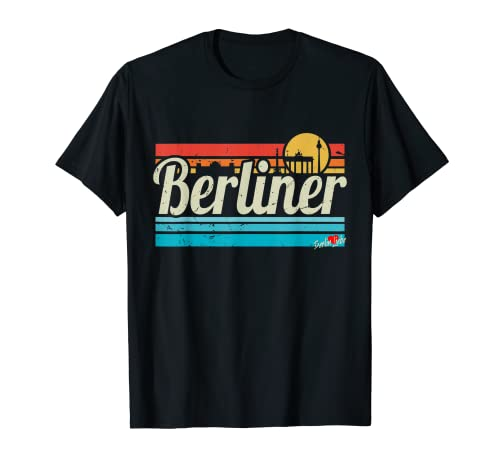 Berlin Sunset Skyline Retro Vintage Surf Alemania Berliner Camiseta