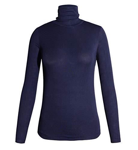 STARBILD Damen Rollkragenpullover Langarmshirt Rollkragen Slim Fit Top Bluse Rolli - Rollkragenshirt Bluse Casual Oberteile,Dunkelblau L
