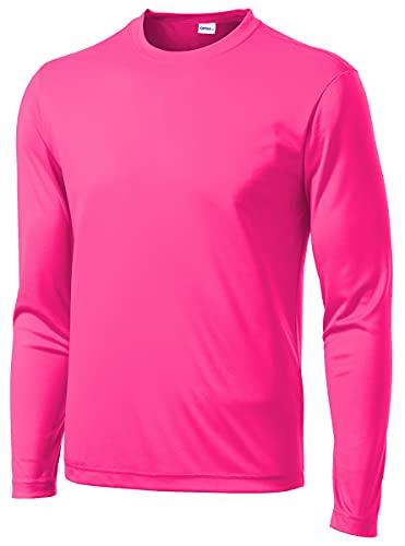 Opna Men's Long Sleeve Moisture Wicking Athletic Shirts NEOPNK-L Pink