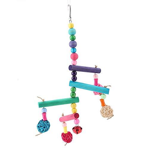 Furnoor Bird-Swings and Target_Audience_Keywords: Vögel, Bunte hölzerne Papageien, die Schwingenspielzeug hängen, das für mittlere und kleine Papageien u. Vögel verwendbar ist