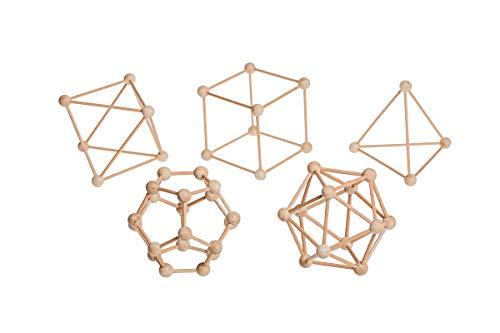 DODE Pack de 5 Poliedros Regulares | Escultura Geométrica Poliédrica, Fabricada en Madera Natural, 8'5 cm