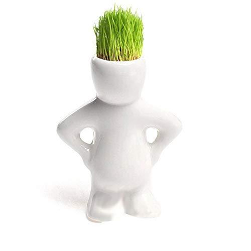 OMaikufl Tree Doll Grass Pot, Tiny Flower Pots, Mini Bonsai Head Grass Hair White Ceramic Plant Garden,Different Poses Flower Pots Ornaments Indoor Outdoor Garden Yard Room Decor (G)