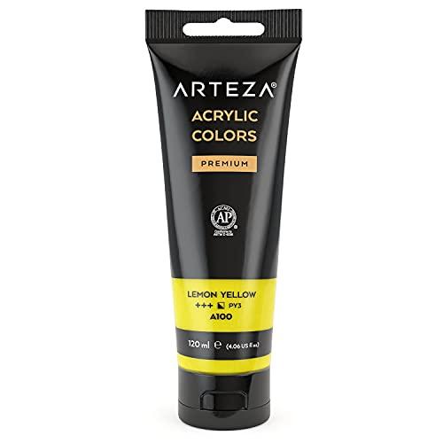 Arteza Pintura acrílica | Color Amarillo Limón | Bolsa individual de 120 mililitros | Pinturas acrílicas para lienzos