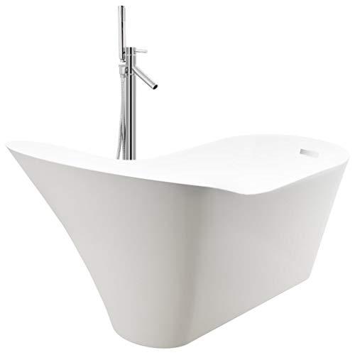 vidaXL - Bañera autoportante y grifo con sistema de ducha para cuarto de baño, casa interior, resistente a las manchas y los arañazos, 210 L, color plateado