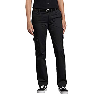 Dickies Women's Relaxed Fit Stretch Cargo Straight Leg Pant, Black, 6