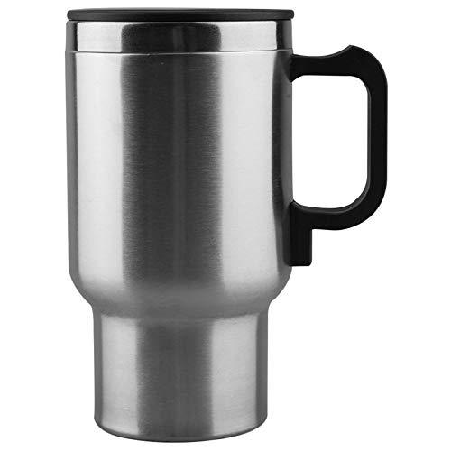 Fontsime 車の加熱カップ自動 12v 加熱カップ電気ケトル車熱ヒーターカップ沸騰水 bottel 自動車アクセサリー 500 ミリリットル + ケーブルシルバー + 黒