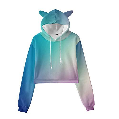 GYINGY Cat Ear Hoodies Gradient Rainbow Print Sudaderas con Capucha Unisex Sudaderas con Capucha Sudaderas con Capucha y Bolsillos-XXXL