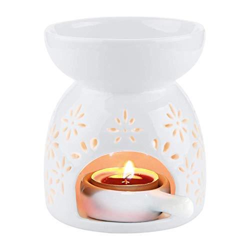 Danolt Ceramica Bruciatore di Oli Essenziali, Diffusore di Aromi in Ceramica Bianco con Portacandela per Yoga, Esercizi di Fitness, Decorazioni per la Casa