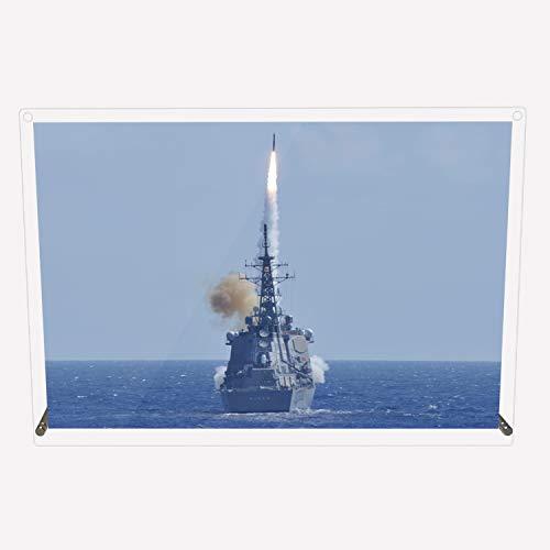 CuVery アクリル プレート 写真 海上自衛隊 護衛艦 DDG-175 みょうこう デザイン スタンド 壁掛け 両用 約A3サイズ